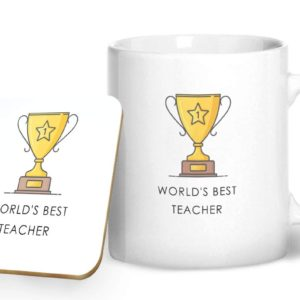 World's Best Teacher – Printed Mug & Coaster Gift Set