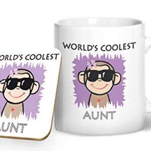 Worlds Coolest Aunt – Printed Mug & Coaster Gift Set
