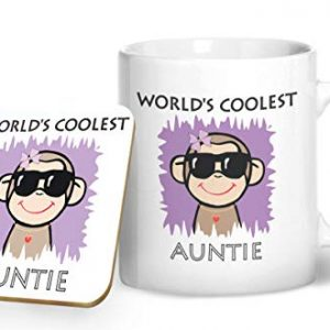 Worlds Coolest Auntie – Printed Mug & Coaster Gift Set