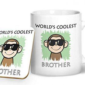 Worlds Coolest Brother – Printed Mug & Coaster Gift Set