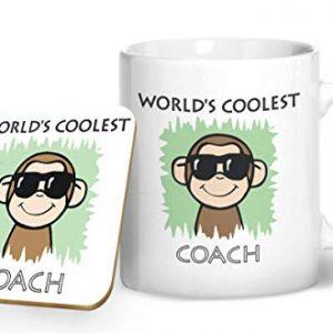 Worlds Coolest Coach Green – Printed Mug & Coaster Gift Set
