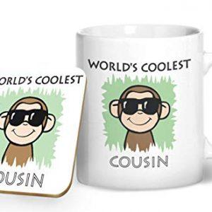 Worlds Coolest Cousin Green Mug And Matching Coaster Set – Printed Mug & Coaster Gift Set