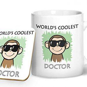 Worlds Coolest Doctor Green – Printed Mug & Coaster Gift Set
