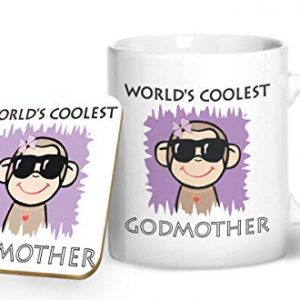 Worlds Coolest Godmother – Printed Mug & Coaster Gift Set