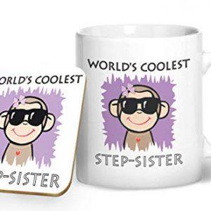 Worlds Coolest Step-Sister – Printed Mug & Coaster Gift Set