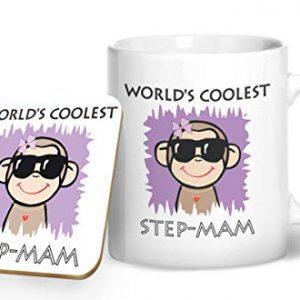 Worlds Coolest Step-mam – Printed Mug & Coaster Gift Set
