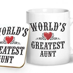 World's Greatest Aunt – Printed Mug & Coaster Gift Set