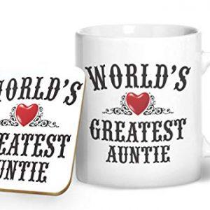 World's Greatest Auntie – Printed Mug & Coaster Gift Set