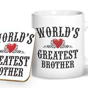 World's Greatest Brother – Printed Mug & Coaster Gift Set