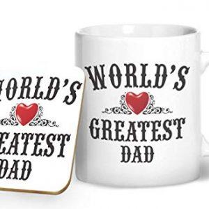 World's Greatest Dad – Printed Mug & Coaster Gift Set