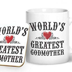 World's Greatest Godmother Mug And Matching Coaster Set – Printed Mug & Coaster Gift Set