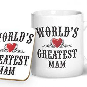 World's Greatest Mam Mug And Matching Coaster Set – Printed Mug & Coaster Gift Set