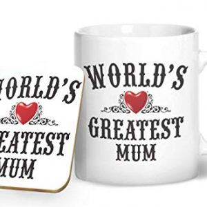 World's Greatest Mum Mug And Matching Coaster Set – Printed Mug & Coaster Gift Set