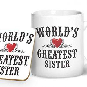 World's Greatest Sister – Printed Mug & Coaster Gift Set