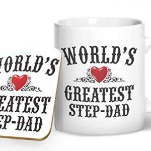 World's Greatest Step Dad – Printed Mug & Coaster Gift Set