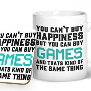 You Can't Buy Happines But You Can Buy Games – Gaming Mug – Printed Mug & Coaster Gift Set