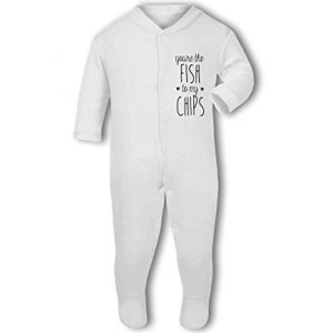 You're the Fish to my Chips .cute with hearts – Baby Grow