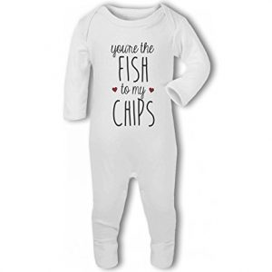 You're the Fish to my Chips .cute with hearts – Baby Romper Suit